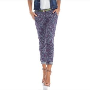 CAbi #806 Palm Beach Crop Printed Skinny Pants 0